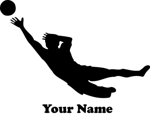 Soccer Goal Keeper Vinyl Decal - Customizable Name