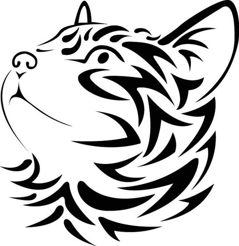 Tribal Cat Face looking left vinyl decal