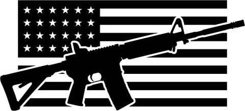 AR Rifle American Flag vinyl decal car sticker