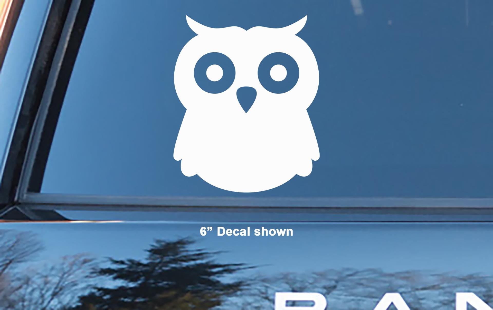 Baby Owl With Rounded Head And Big Eyes Vinyl Decal Sticker - Owl custom vinyl decals for car