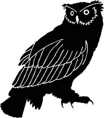 Great Horned Owl Standing with Head Turned vinyl decal sticker