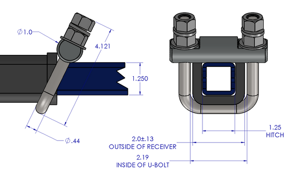 Hitch Clamp - Cross Clamp 1 1/4""