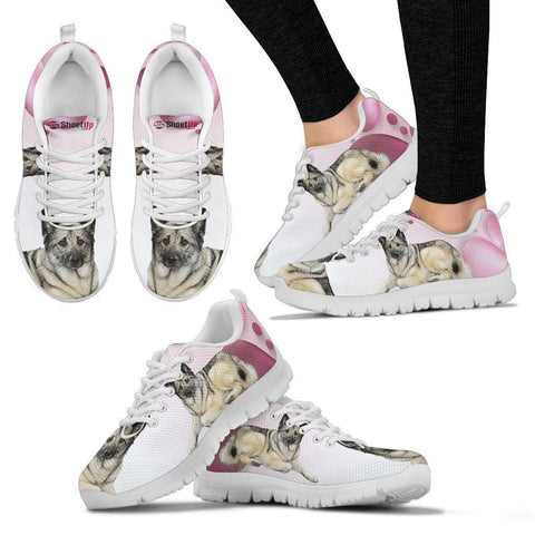 Norwegian Elkhound Pink White Print Running Shoes For Women-Free Shipping