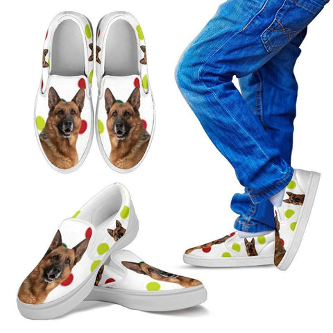 German Shepherd Dog Print Slip Ons For Kids-Express Shipping