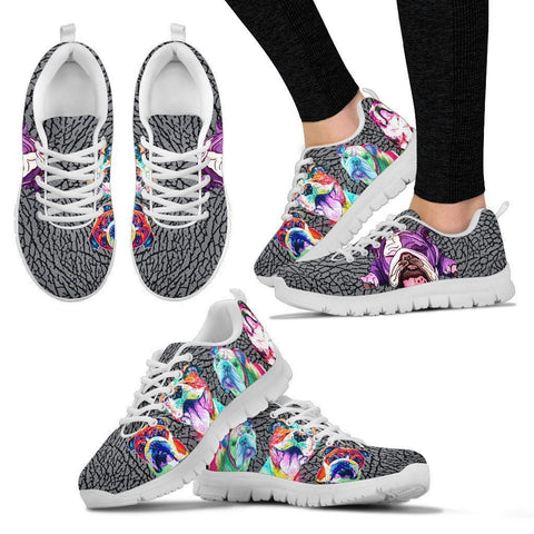 Painted Bulldog Print Running Shoes For Women-Free Shipping