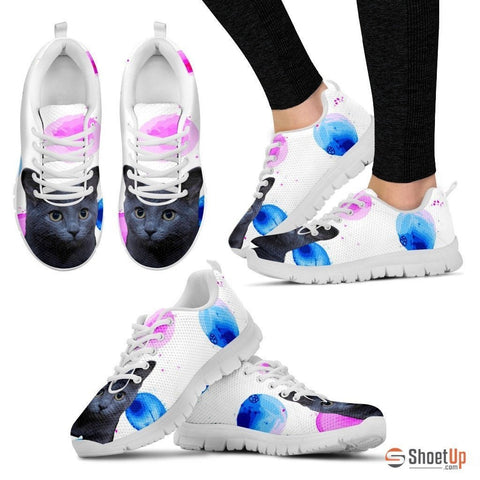 Russian Blue Cat Print (White/Black) Running Shoes For Women-Free Shipping