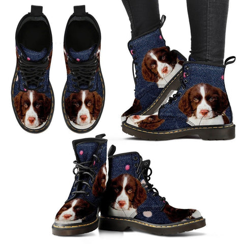 English Springer Spaniel Print Boots For Women-Express Shipping