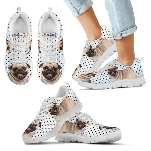 Pug Dog Black Dots Print Running Shoes For Kids-Free Shipping
