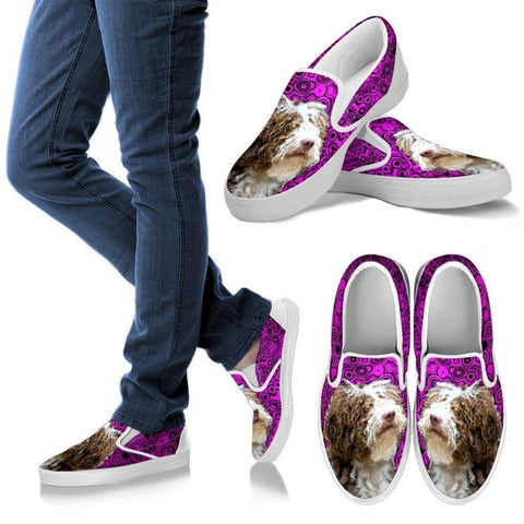 Spanish Water Dog Print Slip Ons For Women-Express Shipping