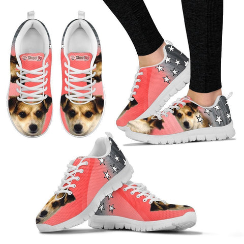 Customized Dog On Pink Print Running Shoes For Women- Design By Sandy Hunter-Express Shipping