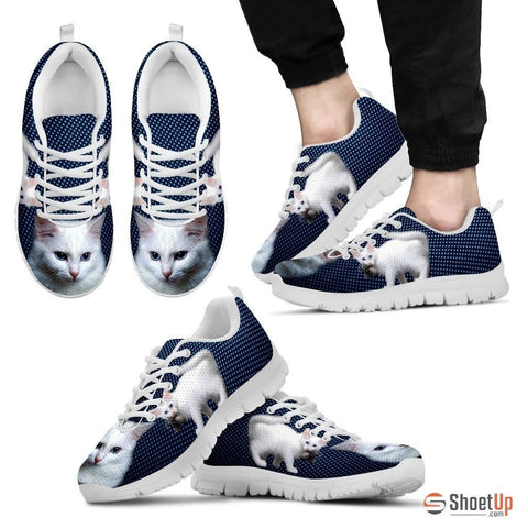 White Turkish Angora Cat Print Sneakers For Men (White/Black)- Free Shipping