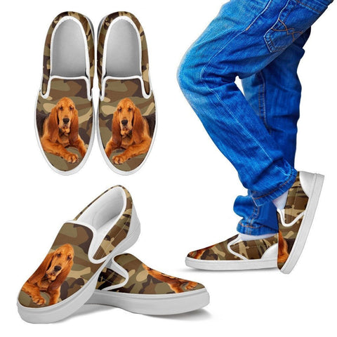 Bloodhound Dog Print Slip Ons For Kids-Express Shipping