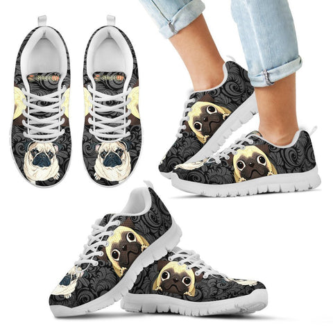 Pug Print-Kid's Running Shoes-Free Shipping
