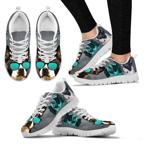 Boston Terrier With Glasses Print Sneakers For Women- Free Shippping