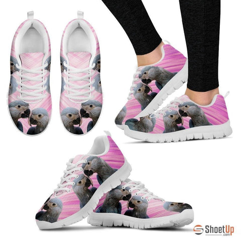 Spix's Macaw Printed (Black/White) Running Shoes For Women-Free Shipping