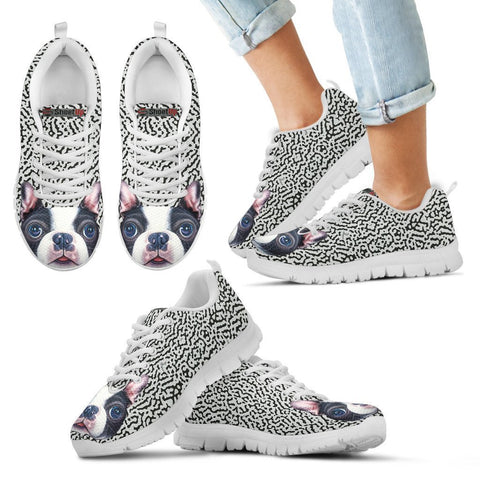Cute Boston Terrier Print Running Shoes For Kids-Free Shipping