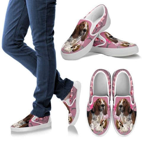 Basset Hound With Puppy Slip Ons For Women-Free Shipping