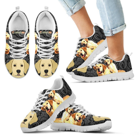 Labrador Retriever On Black Print-Kid's Running Shoes-Free Shipping