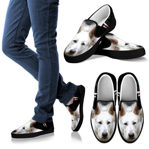 White Shepherd Print Slip Ons For Women (Black)- Express Shipping