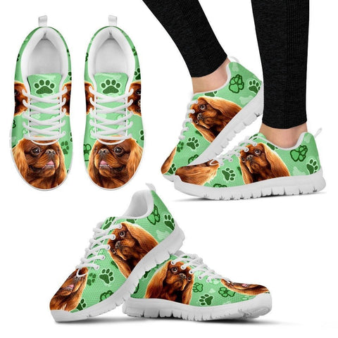 English Toy Spaniel Print (Black/White) Running Shoes For Women-Express Delivery