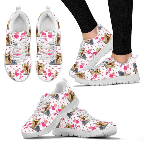 Yorkshire Terrier Pink Pattern Print Sneakers For Women- Express Shipping