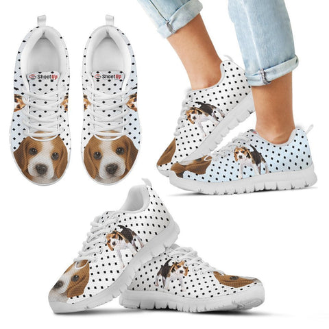 Beagle Dog Black Dots Print Running Shoes For Kids-Free Shipping