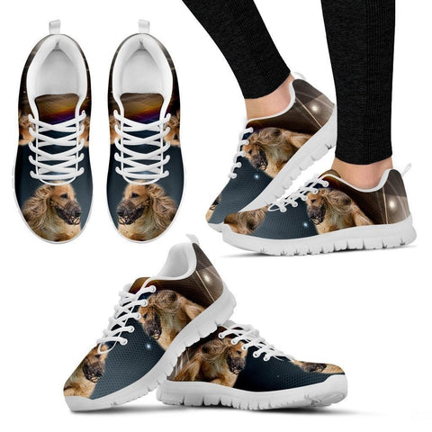 Customized Dog Print (White/Black) Running Shoes For Women Designed By Karin Jansz-Express Shipping