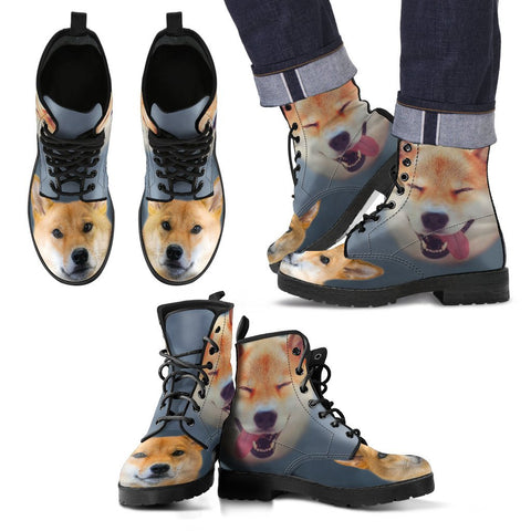Cute Shiba Inu Print New Leather Boots For Men- Express Shipping