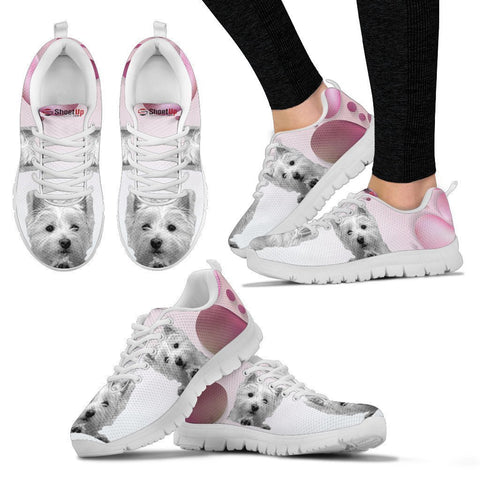 West Highland White Terrier Pink White Print Running Shoes For Women-Free Shipping