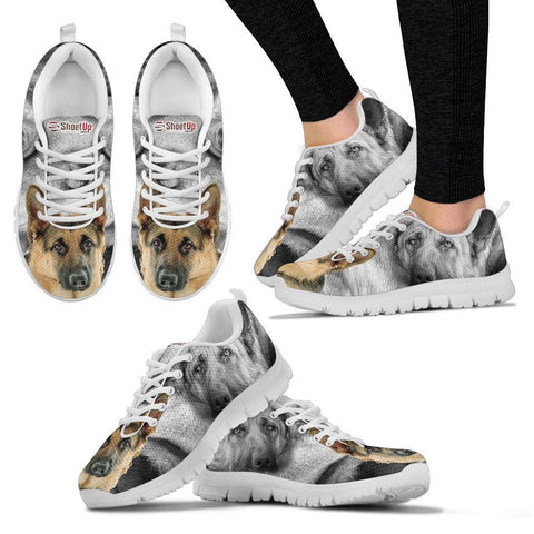 Amazing German Shepherd Print Sneakers For Women- Free Shipping