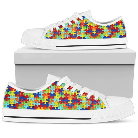 Autism Symbol Low Top Canvas Shoes For Men- Free Shipping