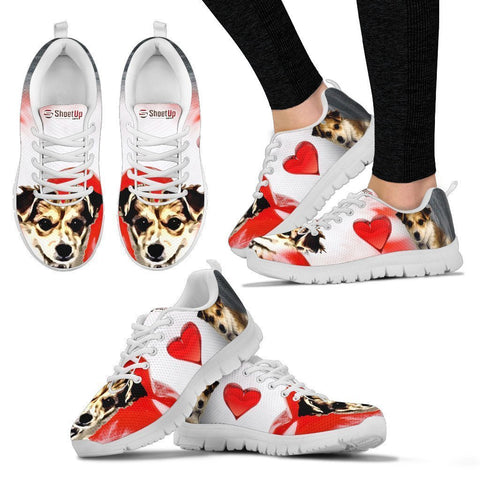 Cartoonize Dog Print Running Shoes For Women- Design By Sandy Hunter-Express Shipping