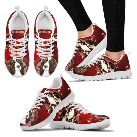 English Springer Spaniel On Red-Women's Running Shoes-Free Shipping