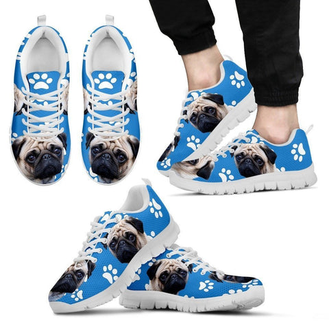 Paws Print Pug Dog (Black/White) Running Shoes For Men -Express Delivery