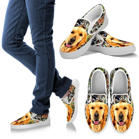 Amazing Golden Retriever  Print Slip Ons For Women-Express Shipping