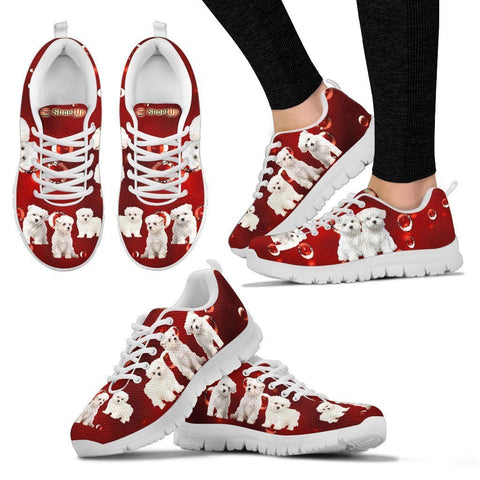 Maltese On Red-Women's Running Shoes-Free Shipping