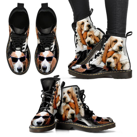 Basset Hound With Glasses Print Boots For Women- Express Shipping