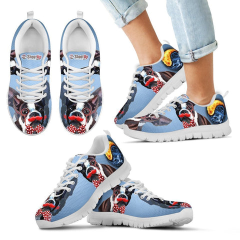 Amazing Boston Terrier Halloween Print Sneakers For Kids- Free Shipping