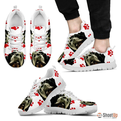 Customized Red Paws Dog Print (Black/White) Running Shoes For Men-Free Shipping Limited Edition