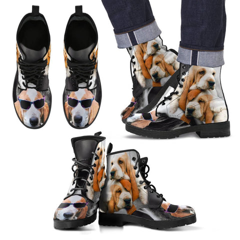 Basset Hound With Glasses Print Boots For Men- Free Shipping