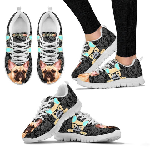 French Bulldog On Black-Women's Running Shoes-Free Shipping