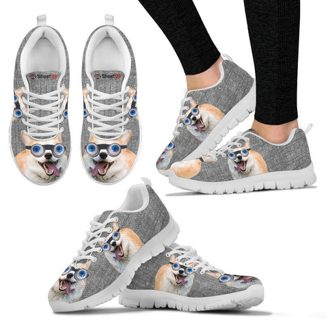 Cardigan Welsh Corgi With Eye Glasses Print Running Shoes For Women-Free Shipping