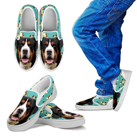 Entlebucher Mountain Dog Print Slip Ons For Kids- Express Shipping