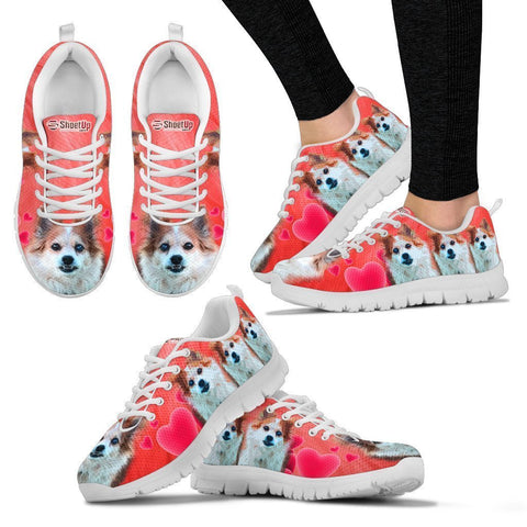 Customized Dog On Red Print Running Shoes For Women-Designed By Sandy Hunter-Express Shipping