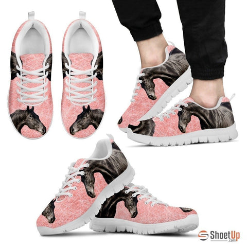 Thoroughbred Horse Print (Black/White) Running Shoes For Men-Free Shipping Limited Edition