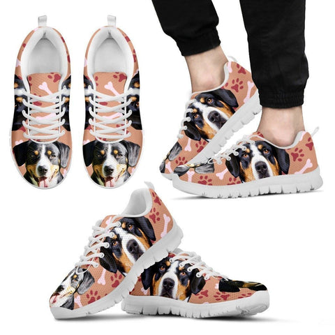 Entlebucher Mountain Dog Print Sneakers For Men(White/Black)- Express Shipping
