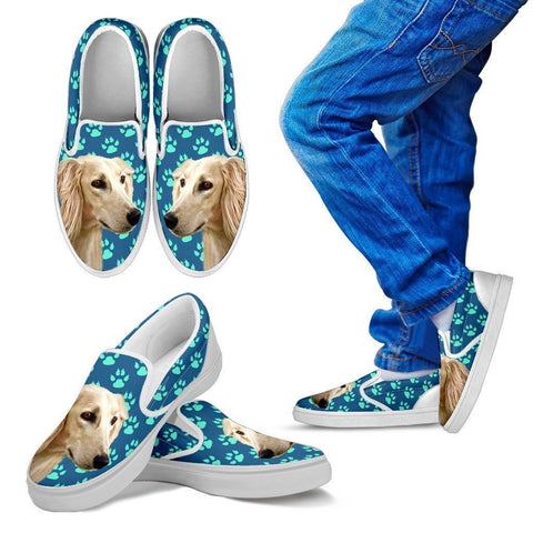 Saluki Dog Print Slip Ons For Kids-Express Shipping