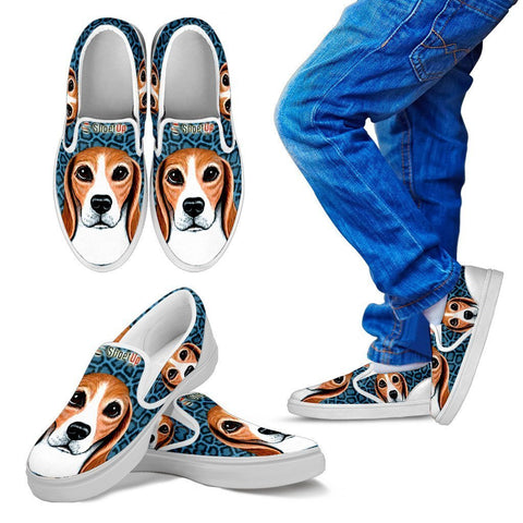 Amazing Beagle Print-Kid's Slip Ons-Free Shipping