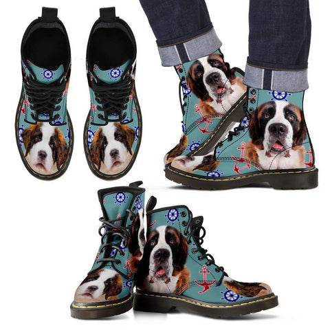 St. Bernard Print Boots For Men-Express Shipping