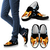 Cute Papillon Dog On Black Print Slip Ons Shoes-Free Shipping